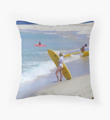 surfie girl Throw Pillow