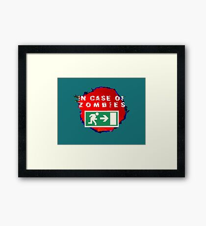 In Case of Zombies (green background) Framed Print