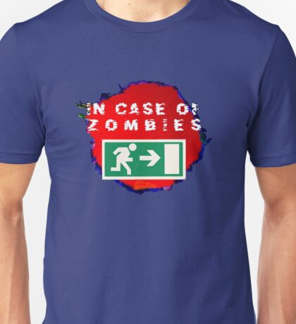 In Case of Zombies (blue/black background) Unisex T-Shirt
