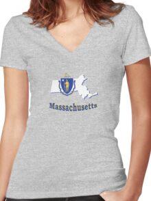 massachusetts state flag Women's Fitted V-Neck T-Shirt