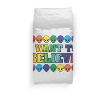 Rainbow I Want to Believe Duvet Cover