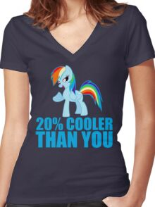Rainbow Dash: 20% Cooler Than You Women's Fitted V-Neck T-Shirt