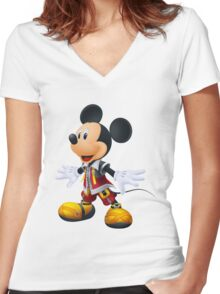 Kingdom Hearts King Mickey Women's Fitted V-Neck T-Shirt
