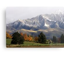 Mountain Ridge Against A Snow Laden Sky Metal Print