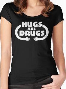 Hugs Are Drugs Funny Geek Nerd Women's Fitted Scoop T-Shirt