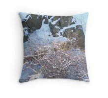 Snow Adorned Rocky Cliff Throw Pillow