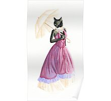 Friday the 13th Pt2: Unlucky Fancy Black Cat Wearing a Victorian Dress  Poster