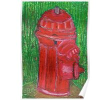 Fire Engine Red Fire Hydrant Poster