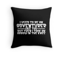 I USED TO BE AN ADVENTURER LIKE YOU, BUT THEN I TOOK AN ARROW IN THE KNEE Funny Geek Nerd Throw Pillow