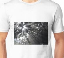 Sunrays in a misty forest Unisex T-Shirt