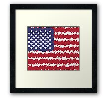 Abstract Scribble USA Flag Pattern  Framed Print