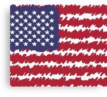Abstract Scribble USA Flag Pattern  Canvas Print