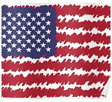 Abstract Scribble USA Flag Pattern  Poster
