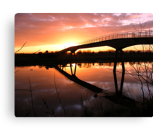 Ferry Footbridge Bridge at Sunset Canvas Print