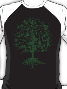 Guitars Tree Roots ~ Green T-Shirt