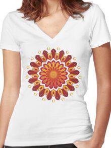 Fire Sunflower Women's Fitted V-Neck T-Shirt