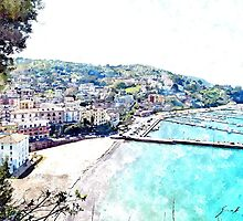 Agropoli: landscape with port and beach by Giuseppe Cocco