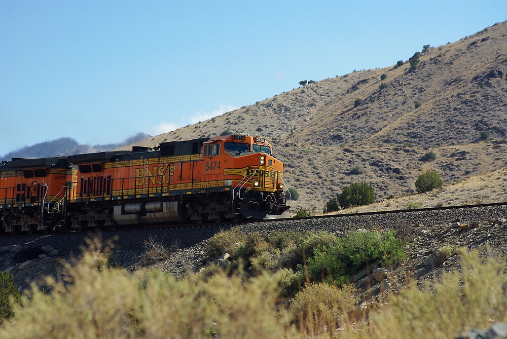 BNSF 5474 struggles up a high desert grade by JBoyer