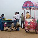 Fruit and Ice cream barrows, Goubert Ave., Pudicherry by Glen O'Malley