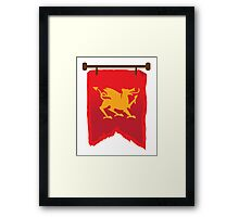 Gold rampant dragon on a field of RED banner Framed Print