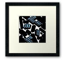Blue Drawn Legos Framed Print