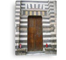 Door with fire extinguishers Canvas Print