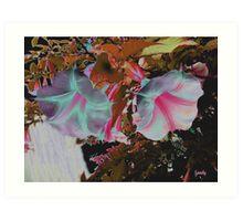 Colorized White trumpets Art Print