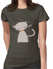 Sleepy Kitty Womens Fitted T-Shirt