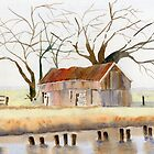 Barn Along the Bank by Marsha Elliott