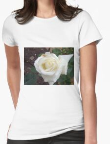 Close up of white rose 20 Womens Fitted T-Shirt