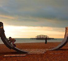 Beach artwork & kids. Brighton Seafront. by fasteddie42