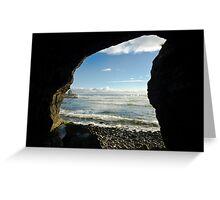 Coastline Cave, Granite Beach Greeting Card