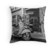 Black and White Motorbike Outside Sorrento Shop Throw Pillow
