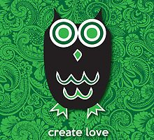 Create Love - Owl Green by mediummania