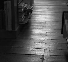 The Old Wood Floor In The Old Book Store (black & white) by John Ayo