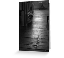 The Old Wood Floor In The Old Book Store (black & white) Greeting Card