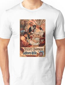 Biscuits Lefevre-Utile 2' by Alphonse Mucha (Reproduction). Unisex T-Shirt