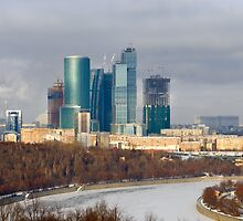 New building under construction. Moscow City, Russia by Mikhail Kovalev