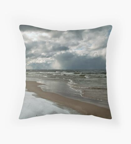 Winter Storm Over the Lake Throw Pillow