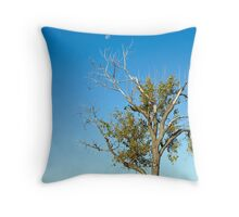 Tree and Daytime Moon Throw Pillow