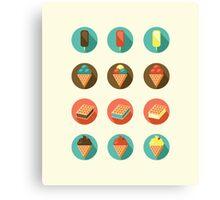Ice-cream Icons Canvas Print