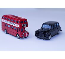 London Routemaster Bus And London Black Cab Photographic Print