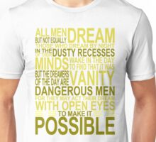 'All Men Dream' Quote [YELLOW] Unisex T-Shirt