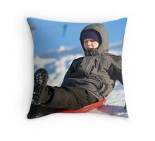 Fun high speed sledding Throw Pillow