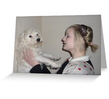 Girl and Dog 3 Greeting Card