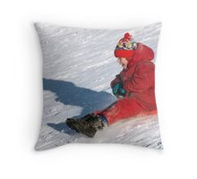 Fun high speed sledding 3 Throw Pillow