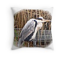 """ I was in two minds if to put this Heron up or not, it was so far away, That it was past my lens capabilty"" Throw Pillow"