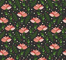 Floral grey pattern by JuliaBadeeva