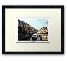 Pixel Art Cities: Milan Navigli Framed Print