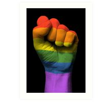 Gay Pride Rainbow Flag on a Raised Clenched Fist  Art Print